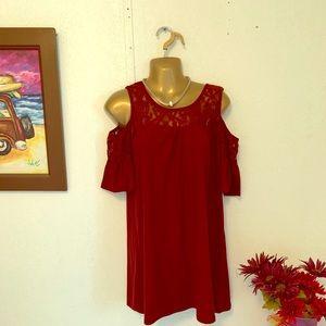 Wine tunic open shoulders dress